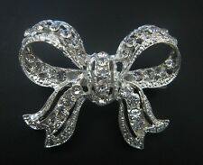 3 x Crystal Diamante Large Bow Brooch Bouquet Pin / Cake Pin / Embellishment