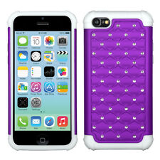 IPHONE 5C / LITE Hybrid Cover White Silicone Case Lattice Studded Purp