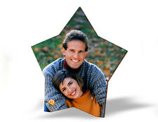 PERSONALIZED WOODEN STAR SHAPE PHOTO STAND GIFT CHRISTMAS Rakhi Diwali New Year