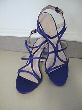 Women's ESCADA Sandals Shoes Deep Purple Satin Strappy sz 9.5 made Italy New Box