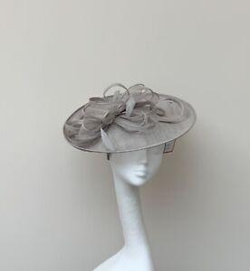Cloud Grey Saucer Fascinator - wedding, races, ascot,