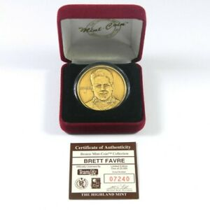 Highland Mint Brett Favre Packers Bronze Coin Numbered out of 25,000