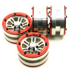 """4PCS Red 1.9"""" Alloy Beadlock Wheel Rims For AXIAL SCX10 1/10 RC Crawlers (#38)"""