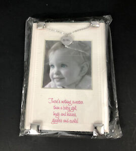 """Mud Pie Baby Girl Nursery Decor Nothing Sweeter Clip Picture Frame 2.5""""x2.5""""in"""
