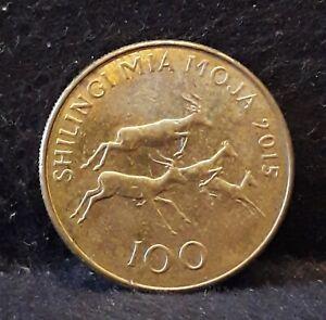 2015 Tanzania 100 shillingi, impalas on reverse, aUNC, KM-32                /N59