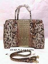 BRAHMIN Melbourne FINLEY Carryall Large Satchel Bag PROWL OMBRE Cheetah Pink NWT