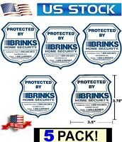 5 WATERPROOF WINDOW STICKERS BRINKS HOME PARTY STORE SECURITY DECAL SIGNS PACK