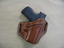 Glock 43 9mm OWB Leather 2 Slot Molded Pancake Belt Holster CCW TAN RH