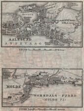 ALESUND & MOLDE antique town city byplans. Norway kart. BAEDEKER. SMALL 1912 map
