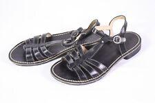 20D Kickers Damen Riemchen Sandaletten Sandalen Leder schwarz  Gr. 38 flach
