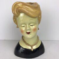Vintage Lady Head Vase Lg, Black Dress, Pearl Necklace & Earrings