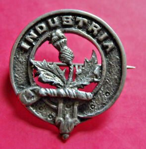 """Clan Fiddes small sterling silver badge or brooch marked """"Silver"""" on reverse"""