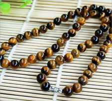 NEW 8mm Natural Yellow Tiger's Eye Gemstone Bead Round Necklace 18'' AAA