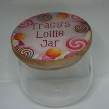 PERSONALISED GLASS AND WOOD DECORATIVE LOLLIE JAR CANDY STORAGE CONTAINER