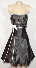 JESSICA MCCLINTOCK FOR GUNNE SAX Black Strapless Dress 9 White Piping & Bow
