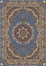 Blue Belgique Collection 7x10 Bamboo Silk Tabriz 900 KPSI Qum Rug