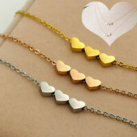 Fashion Stainless steel Women Jewelry three Heart Charms Necklace Pendant 3Color