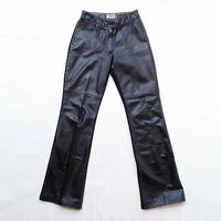 TENGDAHL Aust Designer Black Leather Jodhpurs Pants Size 0 6/8 Bootleg Y2K 2000s