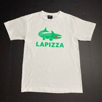 Pizza Mens Graphic Lapizza T-Shirt White Green Crew Neck Short Sleeve Tee S