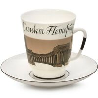 Imperial Lomonosov Porcelain Tea Coffee Cup Saucer Farewell, Saint Petersburg!