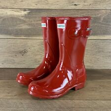 NEW HUNTER ORIGINAL WFS1000RGL SHORT GLOSS RAIN BOOTS MILITARY RED SIZE 5M