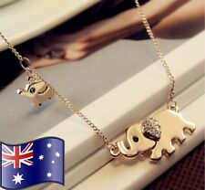 Cute Gold Double Elephant Charm Crystal Pendant Necklace Jewellery AUSSIE SELLER