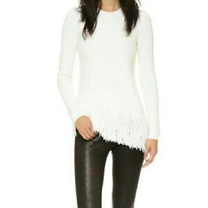 THEORY Hudina Merino Wool asymmetrical fringe thick knit pullover sweater P T/P