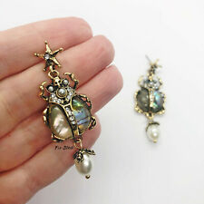 Scarab Beetle Insect Abalone Shell Earrings Towie Blogger UK Pearl Rhinestone