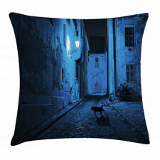 Urban Throw Pillow Case Black Cat Deserted Street Square Cushion Cover 20 Inches