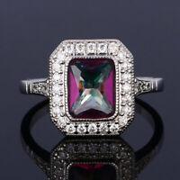 925 Silver Aquamarine Gemstone Wedding Engagement Ring Jewelry Wholesale 6-10