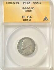 1986 S Jefferson 5 Cent Nickel  ANACS Graded PF 64 DCAM  #35543