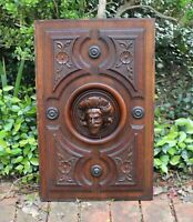 Antique FRENCH WALNUT 3D Carved Panel Door MUSKETEER Man Face c. Mid 19th Cent.