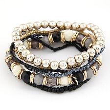 New Women MutiLayer Beads Bracelets Bangles for Women Elastic Strand Pulseras