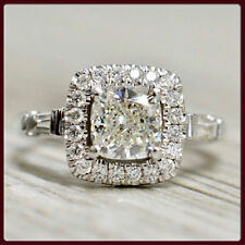 Engagement Ring Real 14k White Gold 4.79 ct Off White Moissanite Cushion Wedding