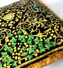 GIANNI VERSACE VINTAGE '90s GOLD IVY CUSHION PILLOW BAROQUE ATELIER MEDUSA ITALY
