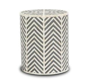 Handmade Black Bone inlay chevron Zigzag   round Wooden Antique side table Stool