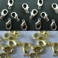 Wholesale Silver/ Gold Plated Lobster Clasps Jewelry Findings 10/12/14/18/21mm