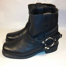 Men's Xelement Biker Harness Motorcycle Boots Oil Tanned Leather-Water Repel-8.5