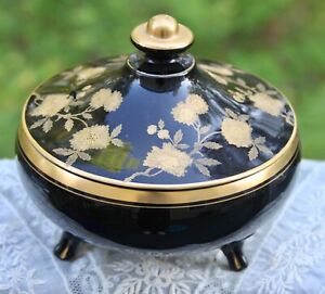Cambridge Blossom Time Black Ebony #300 Footed Dish with Lid Gold Trim RARE