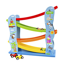 Wooden Toys Club Toddler Car Track Multi-Tier Ramp Tower with Wood Racing Cars