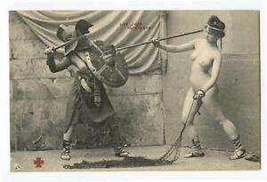 c 1910 French Risque Nude ROMAN LADY Gladiators Arena Battle photo postcard 2