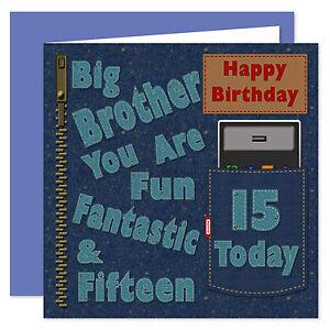 Big Brother Happy Birthday Card - Age Range 11 - 40 Years - Denim Design