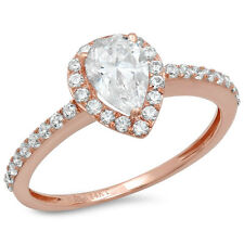 1.07ct Pear Cut Solitaire Engagement Wedding Ring Halo 14k Rose Gold Bridal band
