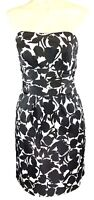 Davids Bridal Strapless Dress Size 6 Formal Bridesmaid Prom Black White Floral