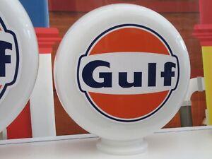 GULF Gas Pump Globe Milk Glass Art Petrol Pump Globe Officially Licensed Product