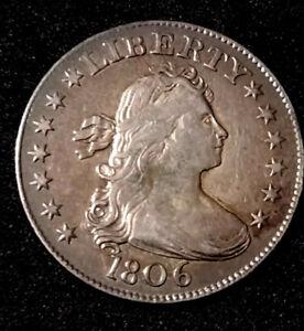 1806 25C Draped Bust Silver Quarter BEAUTIFUL COIN VF/AU Details Purple Toning!!