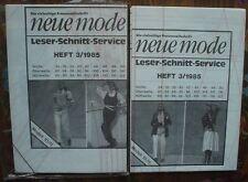 Schnittmuster NEUE MODE 3/1985 Mod.10/11 Hose Rock Oberteil Jacke etc ovp top