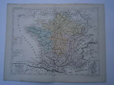 Carte 19° 1852  couleur atlas Malte brun Les grandes communications de la France