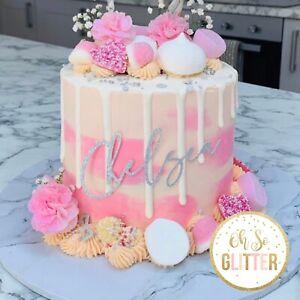 Customised Cake topper any name any colour cake charm decoration glitter custom