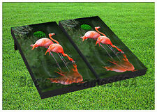 Vinyl Wraps Cornhole Boards Decals Pink Flamingos BagToss Game Stickers 327